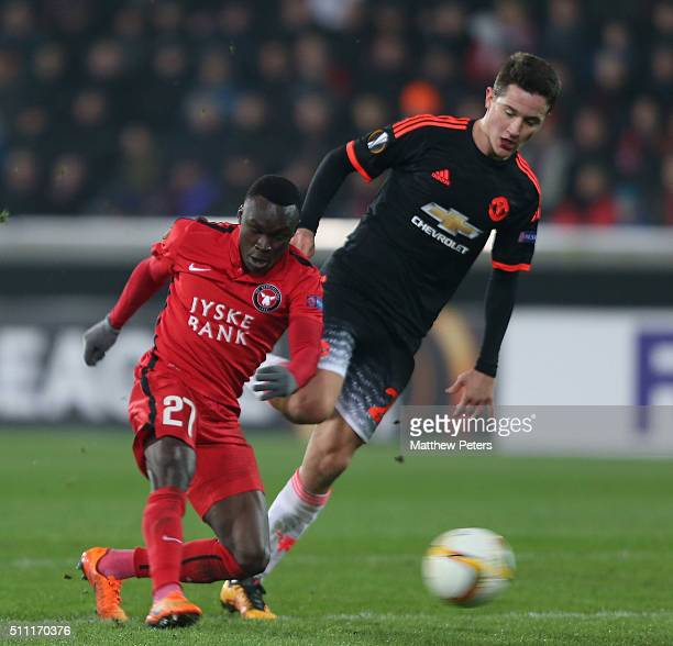 Pione Sisto of FC Midtjylland scores their first goal during the UEFA Europe League match between FC Midtjylland and Manchester United on February 18...