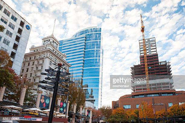 pioneer courthouse square, downtown portland - pioneer square portland stock photos and pictures