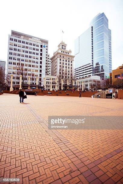 pioneer courthouse square - pioneer square portland stock photos and pictures