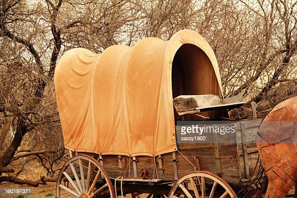 pioneer covered wagon - the oregon trail stock photos and pictures