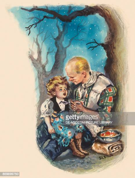 Pioneer spoonfeeding a little boy Old West North America drawing