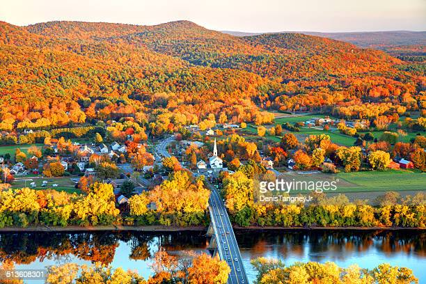 pioneer valley in autumn - massachusetts stock pictures, royalty-free photos & images
