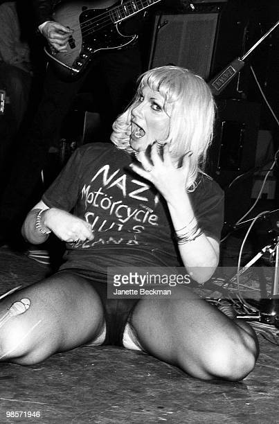 Pioneering American transsexual punk rock singer Wayne County performs on stage with her band the Electric Chairs London England late 1970s Her...
