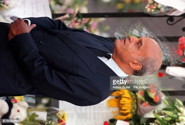 Pioneering cardiac surgeon Sir Magdi Yacoub arrives at Westminster Abbey in London today for the funeral of Diana Princess of Wales ROTA Photo by...