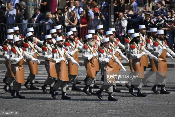Pioneers of the French Foreign Legion march during the annual Bastille Day military parade on the ChampsElysees avenue in Paris on July 14 2017 The...