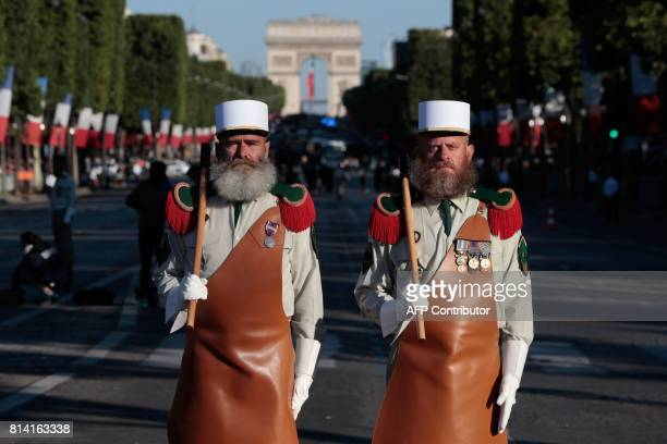 Pioneers of the French Foreign Legion prepare to take part in the annual Bastille Day military parade on the ChampsElysees avenue in Paris on July 14...