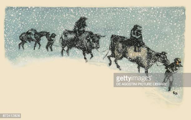 Pioneers riding cattle through a snowstorm Old West North America drawing