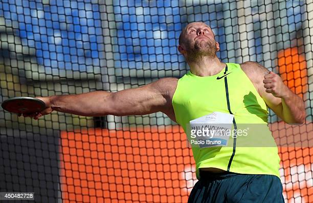 Piortr Malachowki of Poland competes in the men's discus thrown at the IAAF Golden Gala at Stadio Olimpico on June 5 2014 in Rome Italy