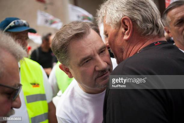 Piotr Duda leader of Solidarity movement seen during coal mines workers protest against closing mines in Warsaw on June 9, 2021.