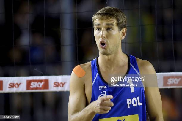 Piotr Kantor of Poland in action during the main draw semifinals match against Evandro Goncalves and Andre Loyola Stein of Brazil at Meia Praia Beach...
