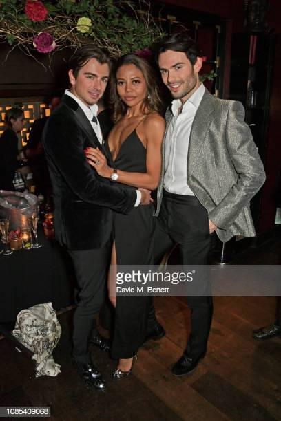 Piotr Krzymowski Emma Weymouth and MarkFrancis Vandelli attend Lisa Tchenguiz's birthday party at Buddha Bar Knightsbridge on January 19 2019 in...