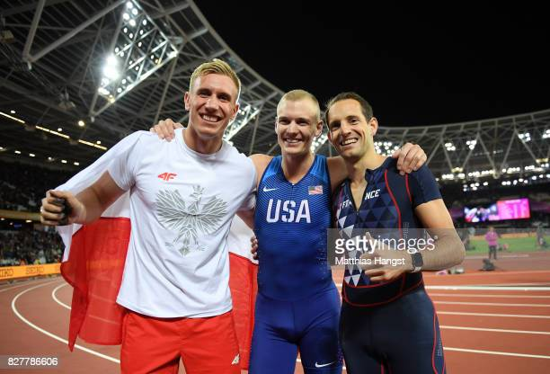 Piotr Lisek of Poland silver Sam Kendricks of the United States gold and Renaud Lavillenie of France bronze celebrate after the Men's Pole Vault...