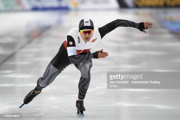 Piotr Michalski of Poland competes in the men's 500 meter during the ISU World Single Distances Speed Skating Championships on February 14, 2020 in...