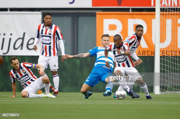 Piotr Parzyszek of PEC Zwolle Eyong Enoh of Willem II during the Dutch Eredivisie match between PEC Zwolle v Willem II at the MAC3PARK Stadium on...