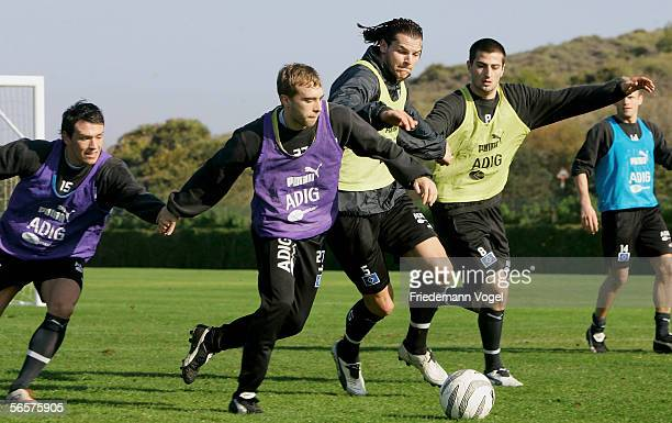 Piotr Trochowski Alexander Laas Daniel van Buyten and Markus Karl in action during the Hamburger SV training camp on January 12 2006 in La Manga near...