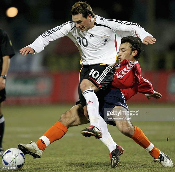 Piotr Trochowski of Germany tussels for the ball with Romik Khachatryan of Armenia during the Under 21 friendly match between Germany and Armenia at...