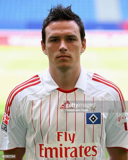 Piotr Trochowski poses during the Bundesliga 1st team presentation of Hamburger SV at the HSH Nordbank Arena on July 25 2008 in Hamburg Germany