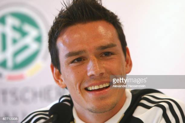 Piotr Trochowski smiles during a press conference of the German National team at the AFG Arena on September 8 2008 in Sankt Gallen Switzerland