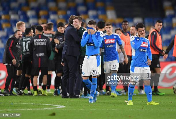 Piotr Zielinski and Amin Younes of SSC Napoli stand disappointed after the Serie A match between SSC Napoli and Bologna FC at Stadio San Paolo on...