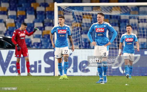 Piotr Zielinski and Giovanni Di Lorenzo of SSC Napoli stand disappointed during the Serie A match between SSC Napoli and FC Internazionale at Stadio...
