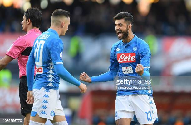 Piotr Zielinski and Sebastiano Luperto of SSC Napoli celebrate the 10 goal scored by Piotr Zielinski during the Serie A match between SSC Napoli and...