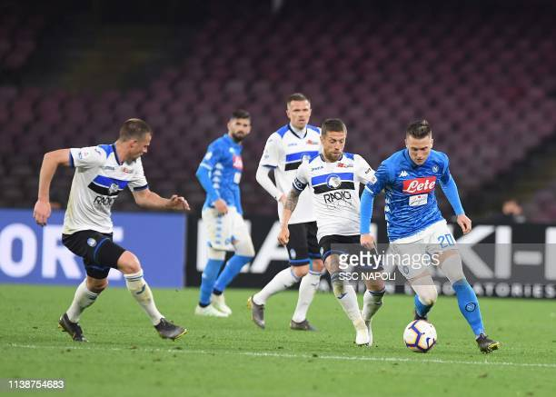 Piotr Zielinski during the Serie A match between SSC Napoli and Atalanta BC at Stadio San Paolo on April 22 2019 in Naples Italy