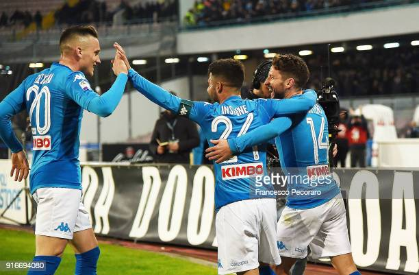 Piotr Zielinski Lorenzo Insigne and Dries Mertens of SSC Napoli celebrate the 41 goal scored by Dries Mertens during the serie A match between SSC...