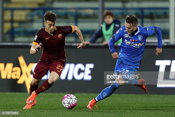 Piotr Zielinski of Empoli FC battles for the ball with Stephan El Shaarawy of AS Roma during the Serie A match between Empoli FC and AS Roma at...