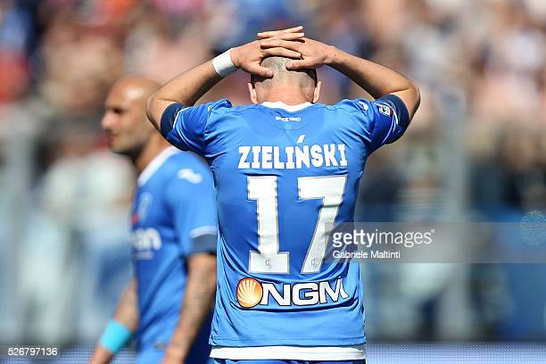 Piotr Zielinski of Empoli FC reacts during the Serie A match between Empoli FC and Bologna FC at Stadio Carlo Castellani on May 1 2016 in Empoli Italy
