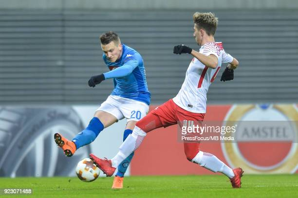 Piotr Zielinski of Napoli and Kevin Kampl of RB Leipzig during UEFA Europa League Round of 32 match between RB Leipzig and Napoli at the Red Bull...