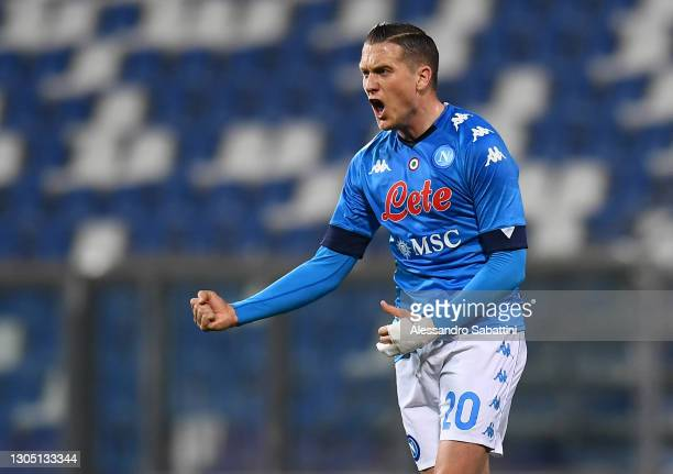 Piotr Zielinski of Napoli celebrates after scoring their team's first goal during the Serie A match between US Sassuolo and SSC Napoli at Mapei...