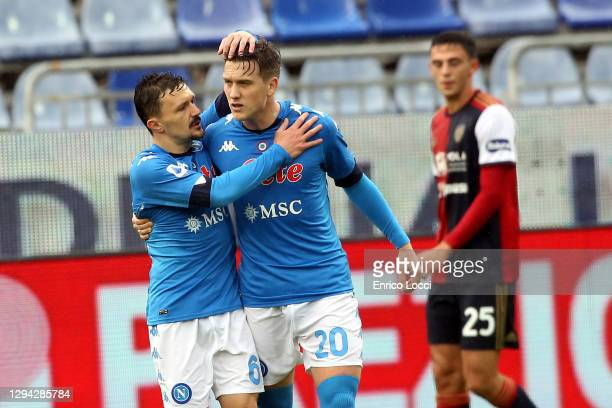 Piotr Zielinski of Napoli celebrates his team's first goal during the Serie A match between Cagliari Calcio and SSC Napoli at Sardegna Arena on...