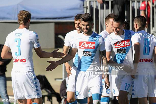 Piotr Zielinski of Napoli celebrates this goal 03 with the teammates during the Serie A match between Cagliari Calcio and SSC Napoli at Stadio...