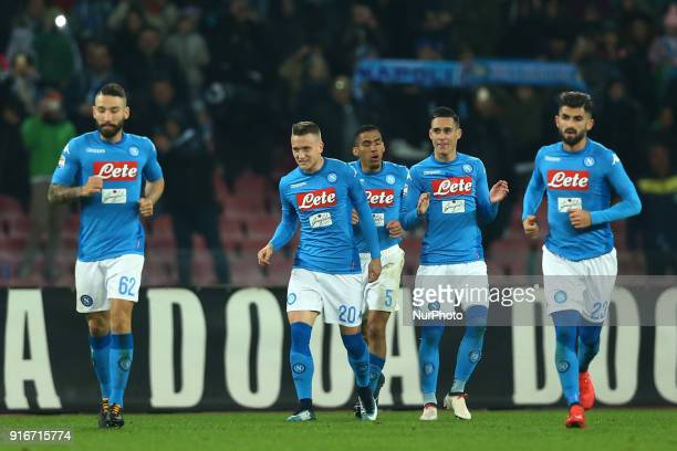 Piotr Zielinski of Napoli celebrates with the teammates after the goal of 31 during the serie A match between SSC Napoli and SS Lazio at Stadio San...