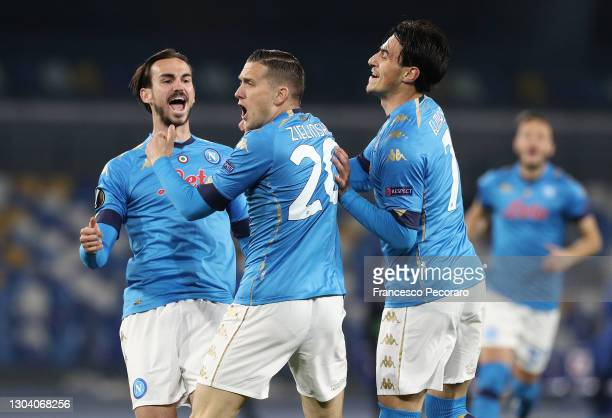 Piotr Zielinski of Napoli celebreates after he scores their team's first goal during the UEFA Europa League Round of 32 match between SSC Napoli and...