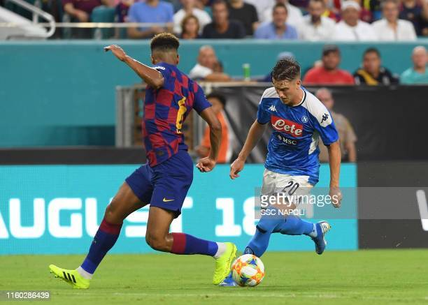 Piotr Zielinski of Napoli controls the ball during the preseason friendly match between FC Barcelona and SSC Napoli at Hard Rock Stadium on August 7...