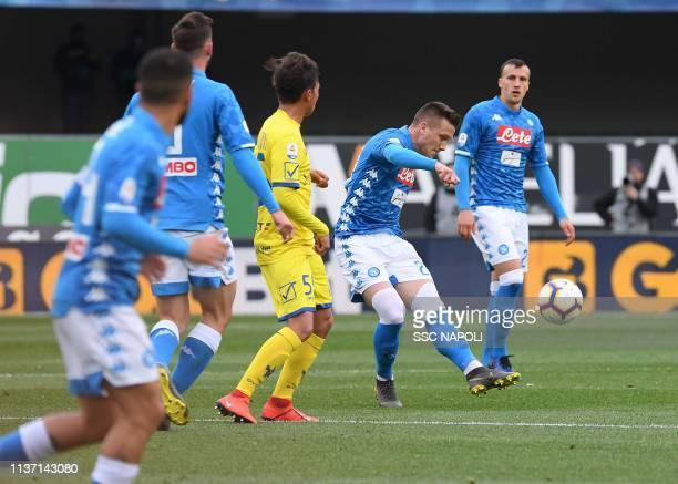 Piotr Zielinski of Napoli during the Serie A match between Chievo Verona and SSC Napoli at Stadio Marc'Antonio Bentegodi on April 14 2019 in Verona...