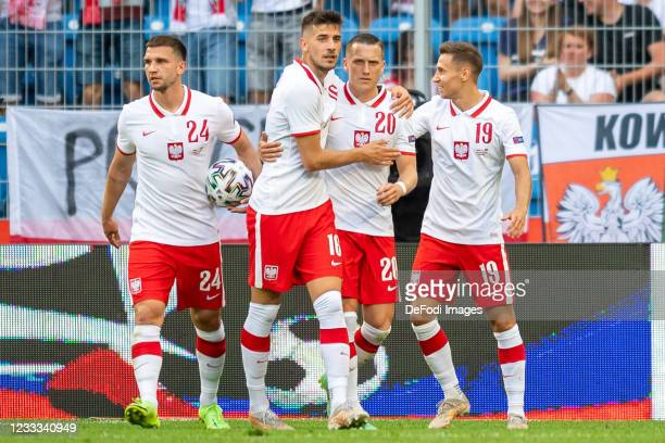 Piotr Zielinski of Poland celebrates after scoring during the international friendly match between Poland and Iceland at Stadion Miejski on June 8,...