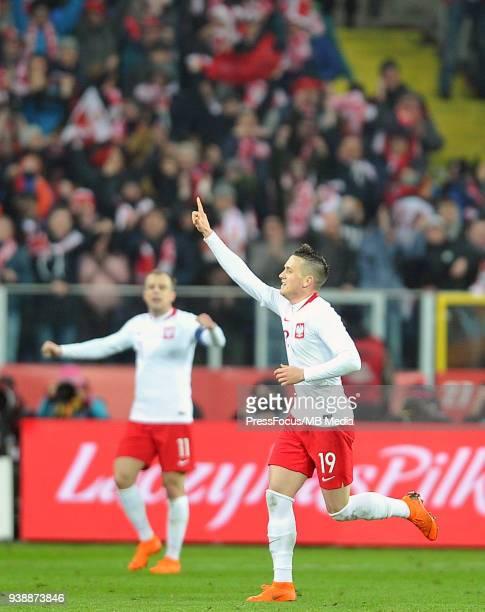 Piotr Zielinski of Poland celebrates scoring a winning goal during international friendly match between Poland and Korea Republic at Slaski Stadium...
