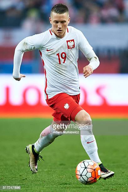 Piotr Zielinski of Poland controls the ball during the international friendly soccer match between Poland and Serbia at the Inea Stadium on March 23...