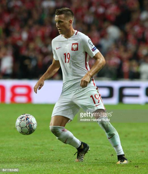 Piotr Zielinski of Poland in action during the FIFA 2018 World Cup Qualifier between Denmark and Poland at Parken Stadion on September 1 2017 in...