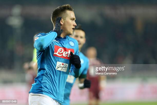 Piotr Zielinski of Ssc Napoli celebrate after scoring a goal during the Serie A football match between Torino Fc and Ssc Napoli Ssc Napoli wins 31...