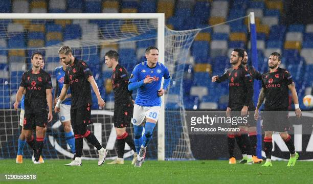 Piotr Zielinski of S.S.C. Napoli celebrates after he scores their team's first goal during the UEFA Europa League Group F stage match between SSC...