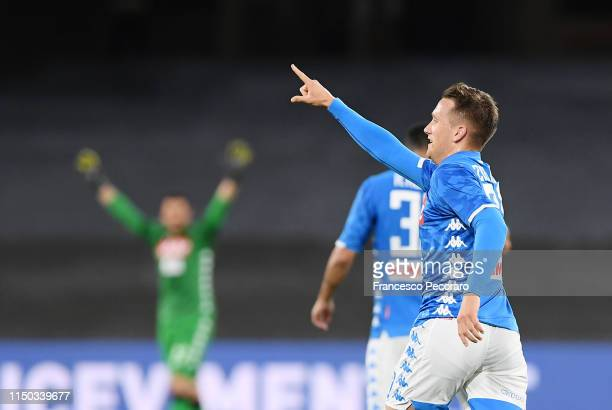 Piotr Zielinski of SSC Napoli celebrates after scoring the 1-0 goal during the Serie A match between SSC Napoli and FC Internazionale at Stadio San...