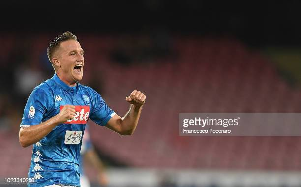 Piotr Zielinski of SSC Napoli celebrates after scoring the 22 goal during the serie A match between SSC Napoli and AC Milan at Stadio San Paolo on...