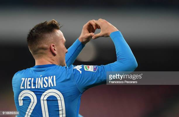 Piotr Zielinski of SSC Napoli celebrates after scoring the 31 goal during the serie A match between SSC Napoli and SS Lazio at Stadio San Paolo on...