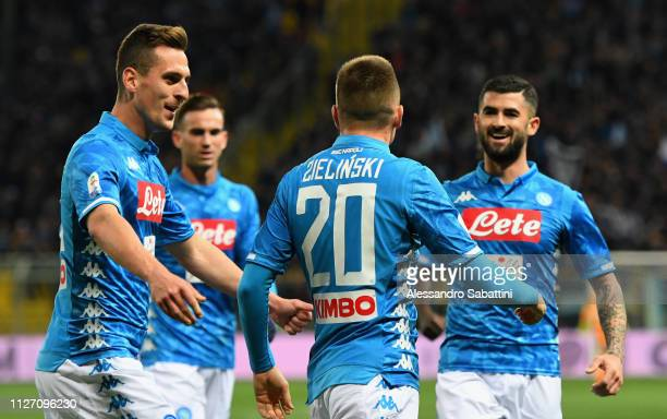 Piotr Zielinski of SSC Napoli celebrates after scoring the opening goal with team mates during the Serie A match between Parma Calcio and SSC Napoli...