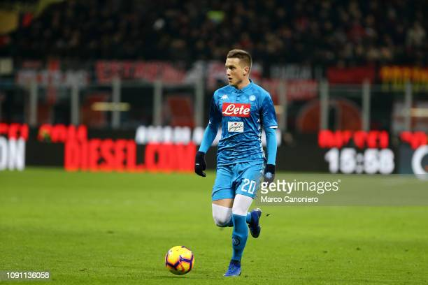 Piotr Zielinski of Ssc Napoli in action during Coppa Italia quarter-finals football match between Ac Milan and Ssc Napoli. Ac Milan wins 2-0 over Ssc...