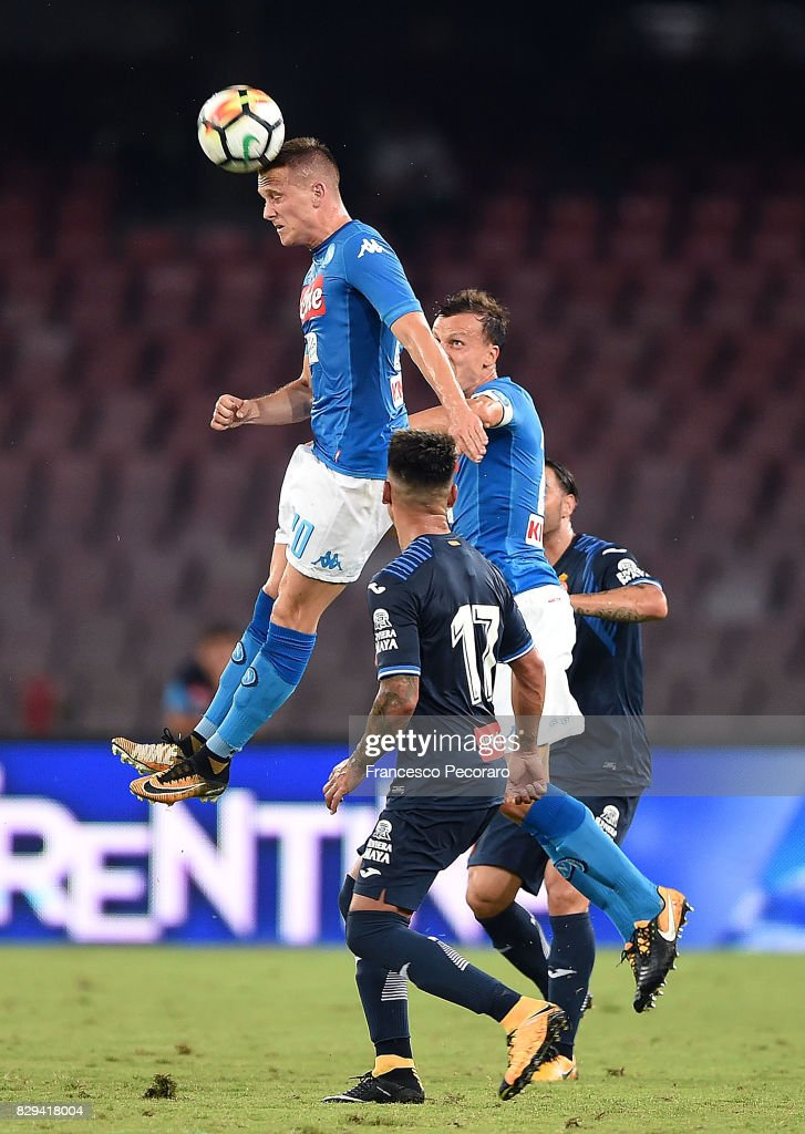 Piotr Zielinski of SSC Napoli in action during the pre-season friendly match between SSC Napoli and Espanyol at Stadio San Paolo on August 10, 2017 in Naples, Italy.