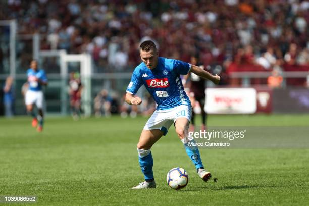 Piotr Zielinski of Ssc Napoli in action during the Serie A football match between Torino Fc and Ssc Napoli.